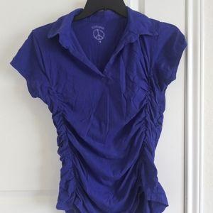 ILLUSION women blouse size 1X blue color corrugate